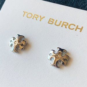 Tory Burch-logo silver earrings